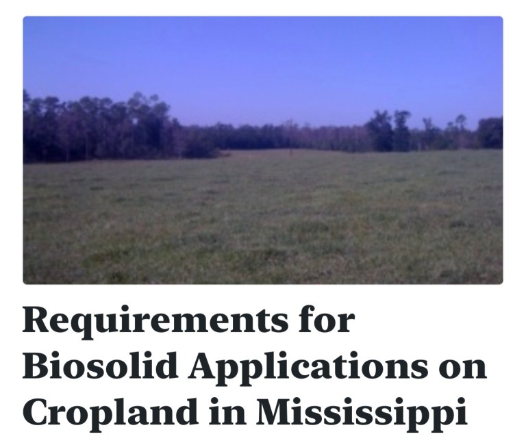 Requirements for Biosolid Applications on Cropland in Mississippi