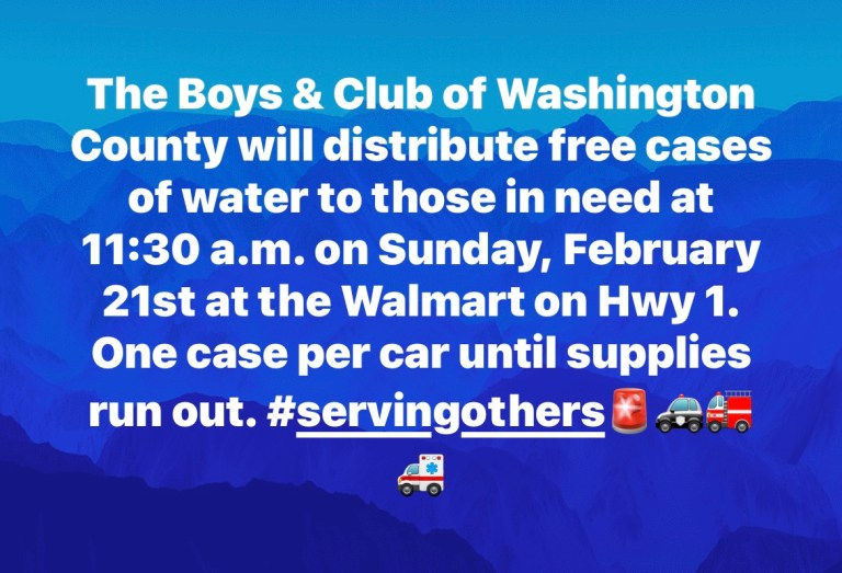 Washington County Boys And Girls Club To Provide Free Water To Those In Need.