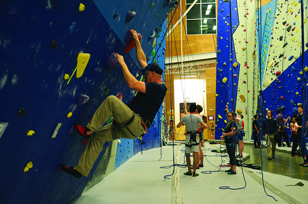 Patrons climbing at the Stone Gardens facility in Crossroads, Bellevue.