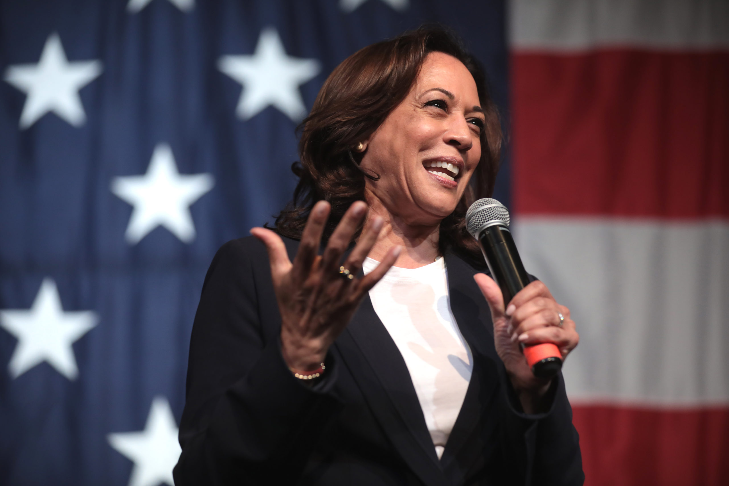 U.S. Senator Kamala Harris speaking with attendees at the 2019 Iowa Democratic Wing Ding at Surf Ballroom in Clear Lake, Iowa.
