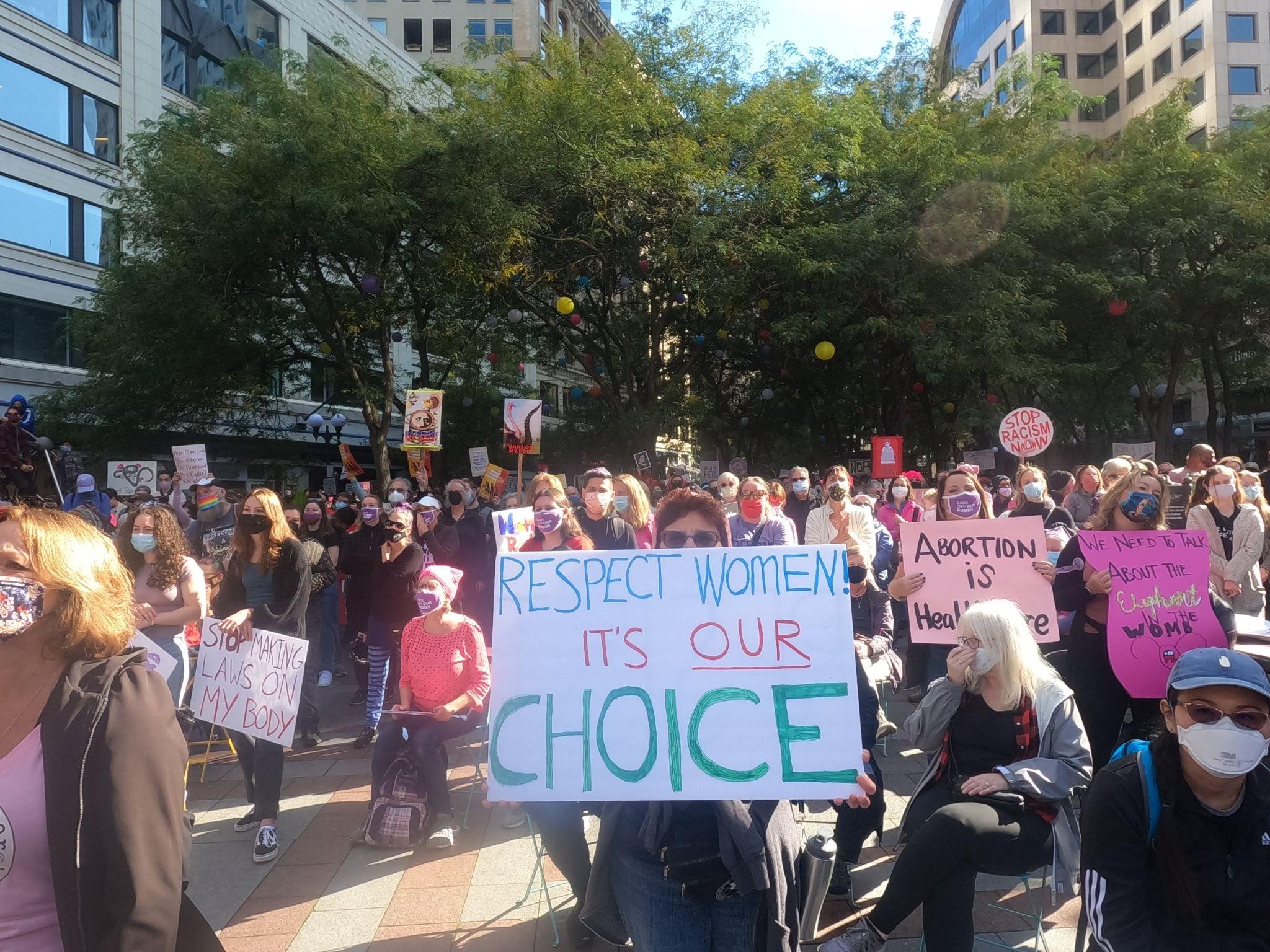 Protestors at Westlake