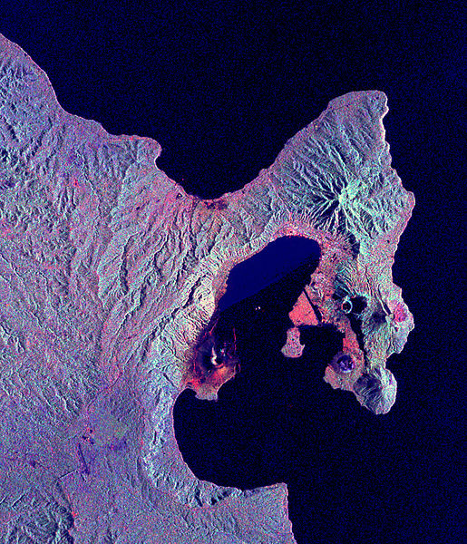 Image Space Radar de Rabaul Volcán, Papua Nueva Guinea