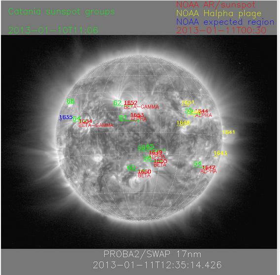 Las manchas solares - 11 de enero 2012