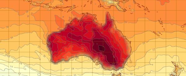 Australia experimentó el día más caluroso en la historia de ayer, 7 de enero.  La temperatura máxima promedio en Australia llegaron a 40,33 grados centígrados, superando el récord anterior de 40,17 grados establecidos el 21 de diciembre de 1972.  Hubo sólo tres veces en la historia cuando el mercurio mostraron temperaturas medias máximas superiores a los 40 grados centígrados.  Los últimos cuatro meses de 2012 batió todos los récords anteriores con temperaturas máximas en todo el continente 1,6 grados Celsius por encima del promedio.  Hobart, Tasmania también registró su día más caluroso en 130 años el 4 de enero, con una temperatura alcanzó un máximo de 41,8 grados Celsius.  Australia nunca ha experimentado antes de 5 días consecutivos de temperaturas máximas promedio nacional ...