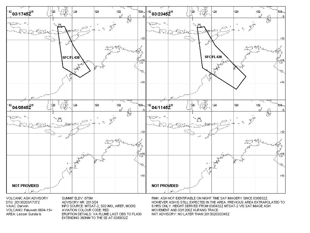 VAAC Darwin - 3 de febrero de 2013 - Paluweh erupción - gráfico