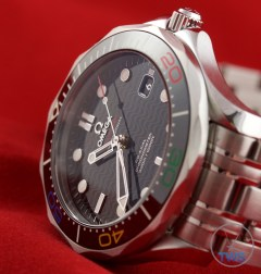 Omega Rio 2016 Olympic Limited Edition Seamaster Diver 300m: Hands On Review [522.30.41.20.01.001] - Laying on its side diagonally (square version)