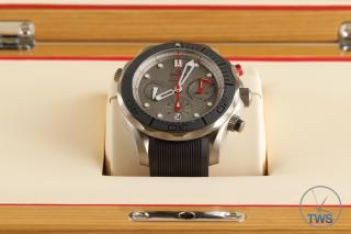 Watch sitting in presentation box - Omega Seamaster 300m Diver Co-Axial Chronograph 44mm: Hands-On Review [212.92.44.50.99.001 ETNZ]
