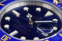 Ultra close up dial shot of Rolex Submariner Date: Hands-On Review [116613LB]