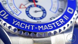 Bezel close up with text 'Yacht-Master II' - Rolex Yachtmaster II- Hands-On Review [116680]