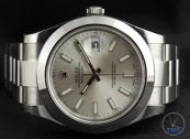 Rolex Oyster Perpetual Datejust II: Hands-On Review [116300 Silver Index] - Laying on side with time set to 10:10:30 with a black background