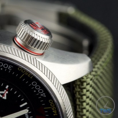 OrisBig Crown ProPilot Altimeter 47mm: Hands-On Review[01 733 7705 4134-07 5 23 14FC] - Close up of altimeter venting crown, in the open position, to measure air pressure