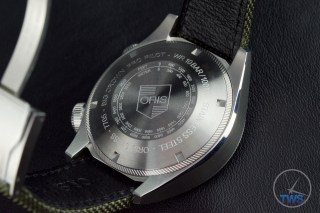 OrisBig Crown ProPilot Altimeter 47mm: Hands-On Review[01 733 7705 4134-07 5 23 14FC] - Watch crystal face-down with engravings on case back in legible view