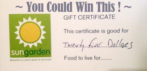 GIVEAWAY!! $25 to Sun Garden Cafe, Siesta Key, FL | #sarasota #giveaway #freefood