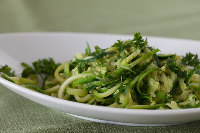 Spiralized Zucchini Pasta with Creamy Avocado Sauce Recipe