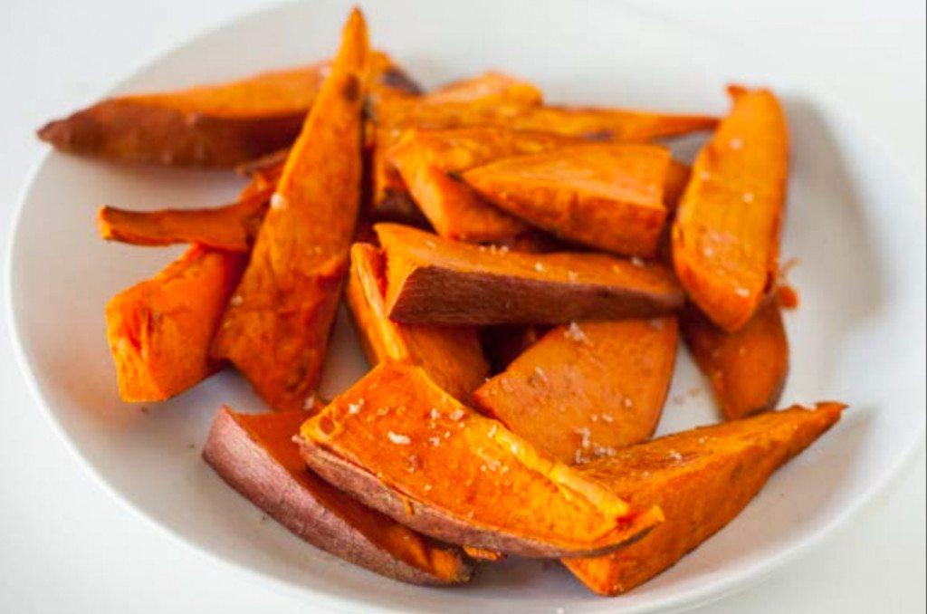 image of baked sweet potato spears