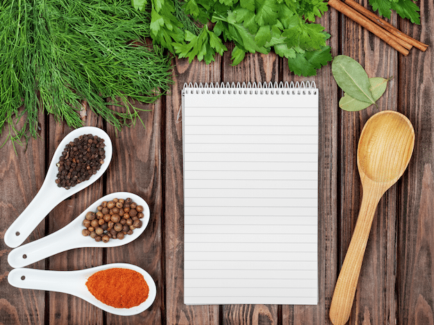 image of shopping list and grains