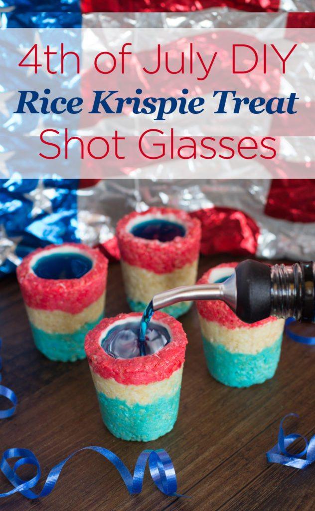 4th of july rice krispie treat shot glasses