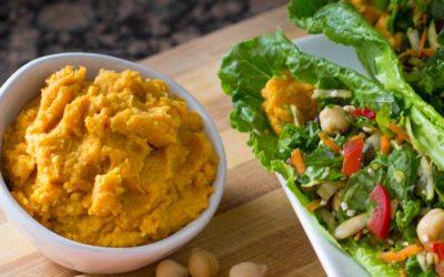 Curry Carrot Chickpea Hummus Recipe [SECRET INGREDIENT]   Nutritarian   Vegan