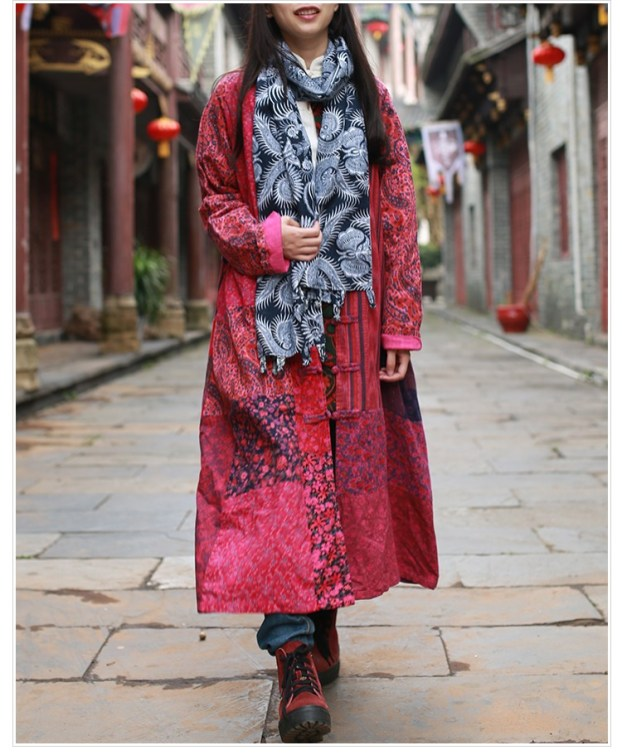 The Wavy Bunch Colorful Japanese Reds Patchwork Jacket Front Toggles