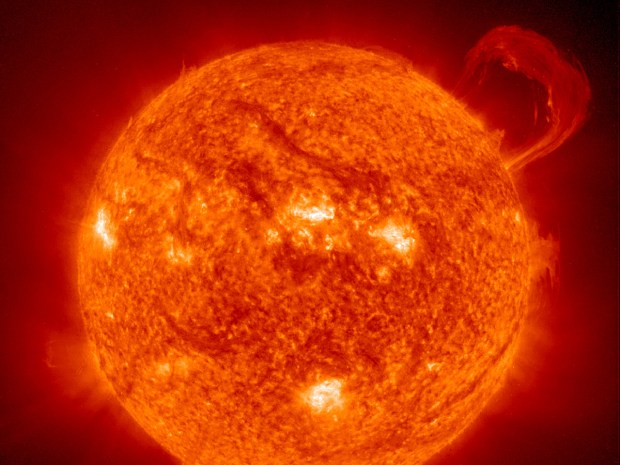 Handle on the Sun, a solar prominence, Sept. 14, 1999. Image by NASA/European Space Agency