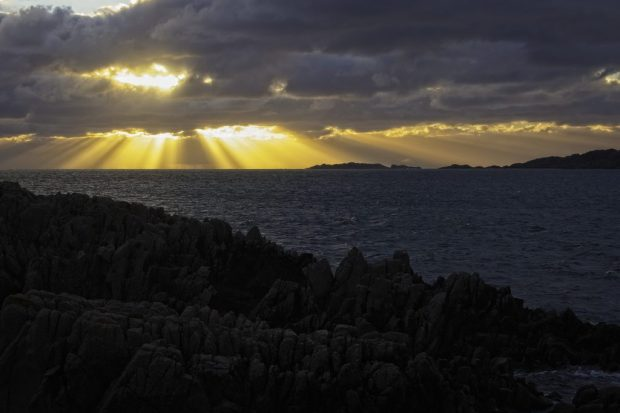 Light streaming through clouds in the Inner Hebrides