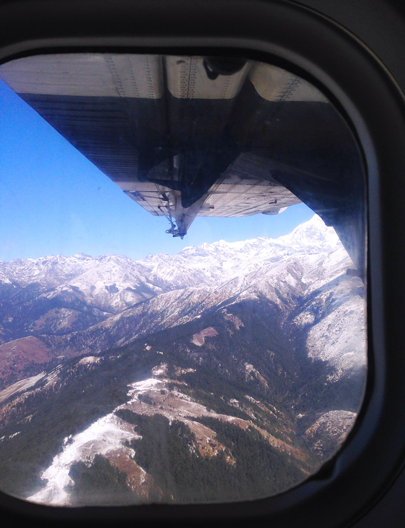 himalayas mountains, snow, nepal, everest, trek, flight Kathmandu Lukla plane window view