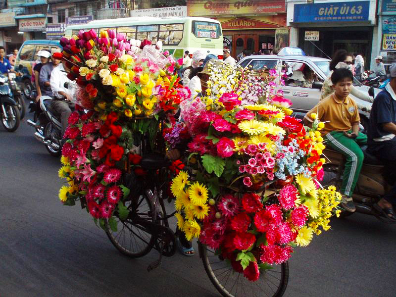 flower seller vietnam bicycle
