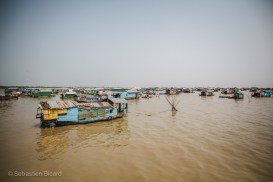 A floating village on the large Tonlé Sap lake. Cambodia, March, 2014.