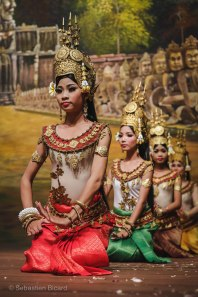 Apsara (Cambodian folk dance) dancers in traditional costumes. Siem Reap, Cambodia, March 2014.