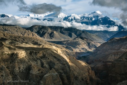 Stunning and varied landscapes characterize the challenging but beautiful trek in Upper Mustang. Nepal, July 2014.