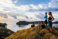 Fellow divers venture on land for a hike after nearly a week at sea. Komodo, Indonesia, June 2014.