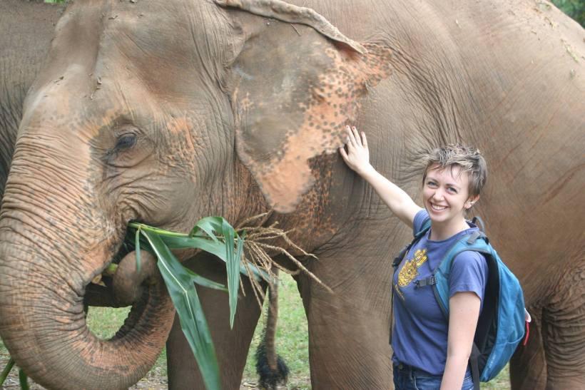 Me making friends at an elephant sanctuary...