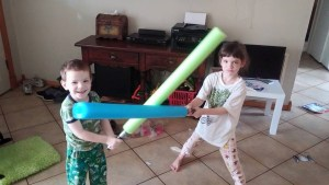 Pool Noodles as Light Sabers