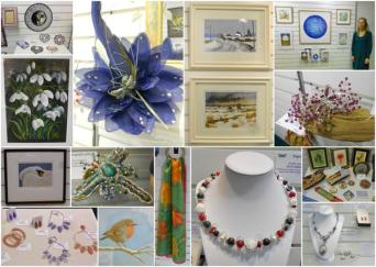 Montage of work on display Christmas Exhibition 2014