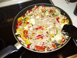 quick pasta and vegetables plant-based