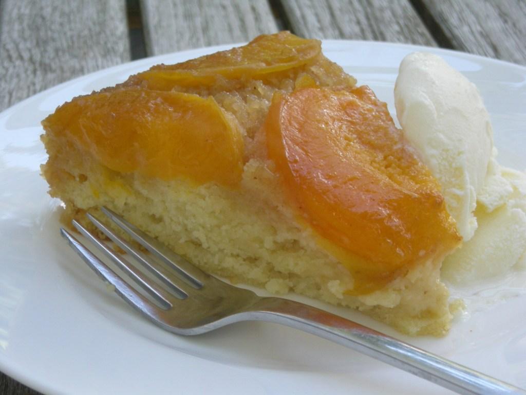 Desserts, fruit, baked, apricot upside down cake 3