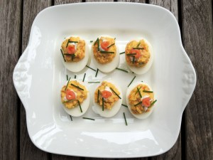 Appetizers, eggs, smoked salmon stuffed eggs 1