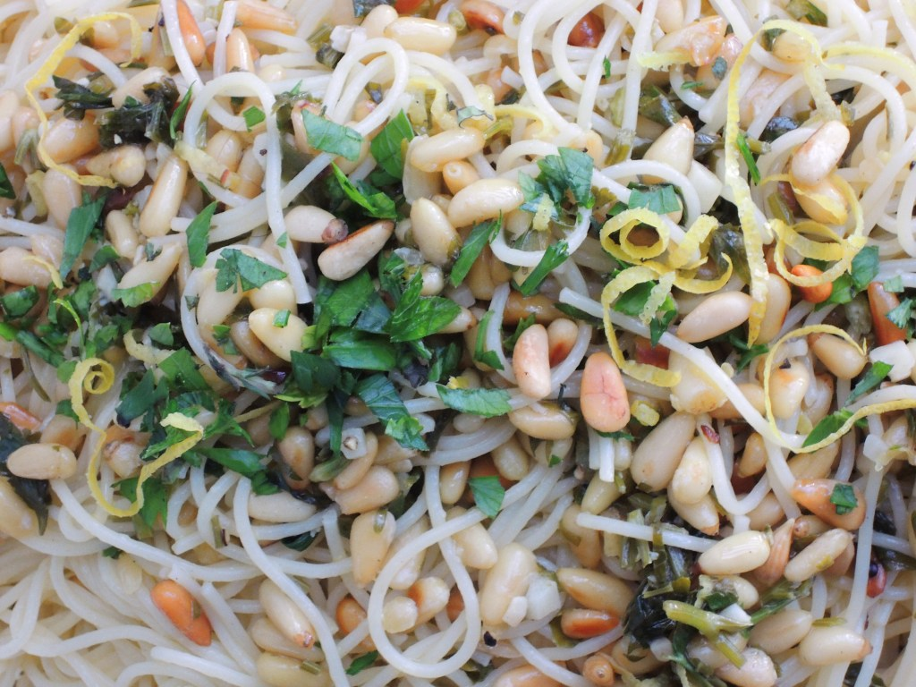 Pasta, capellini with lemon and pine nuts 2