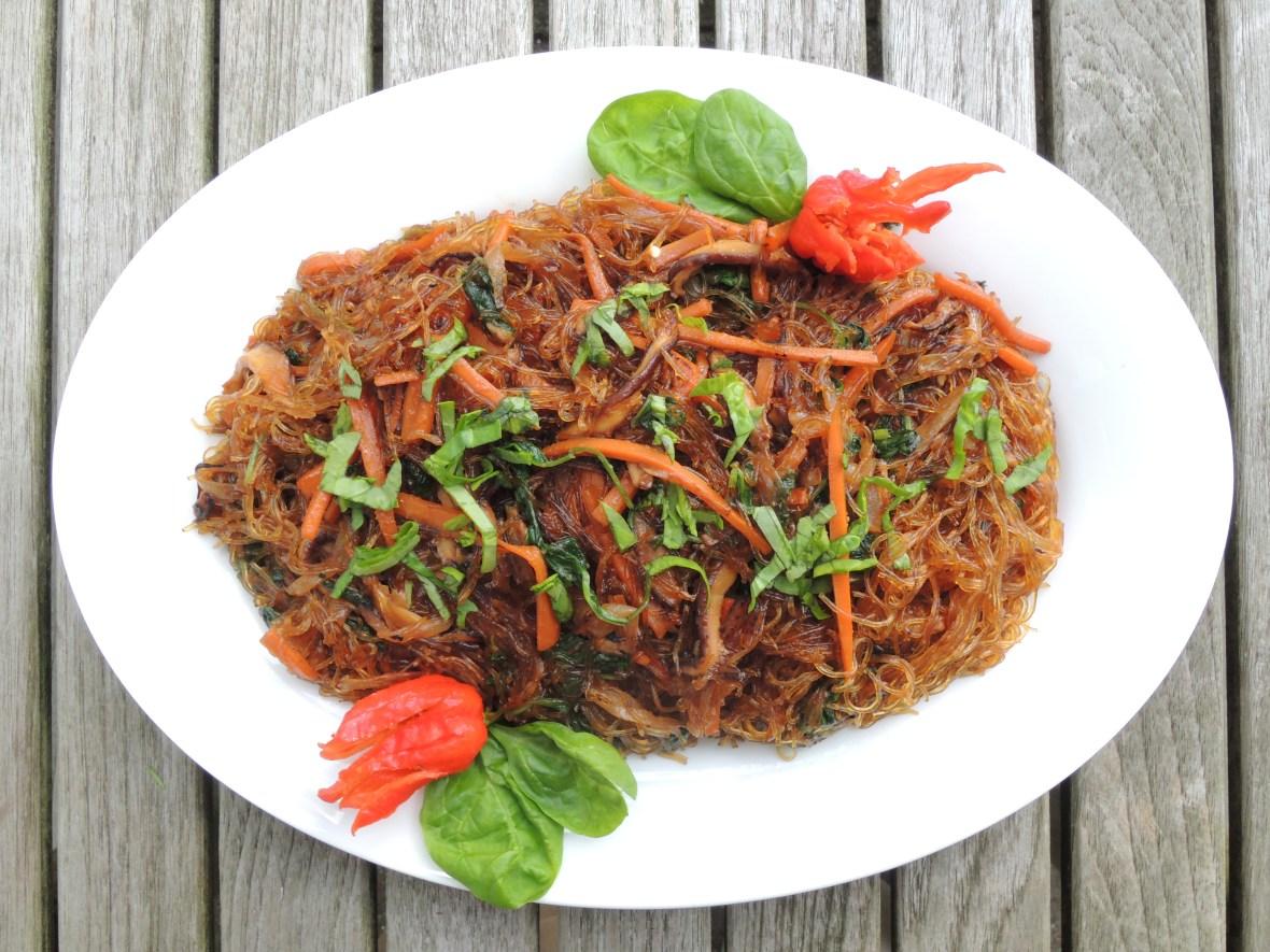 Pasta, sai fun, chap chae (Korean bean thread noodles with vegtables) 1