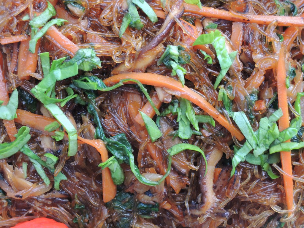 Pasta, sai fun, chap chae (Korean bean thread noodles with vegtables) 2