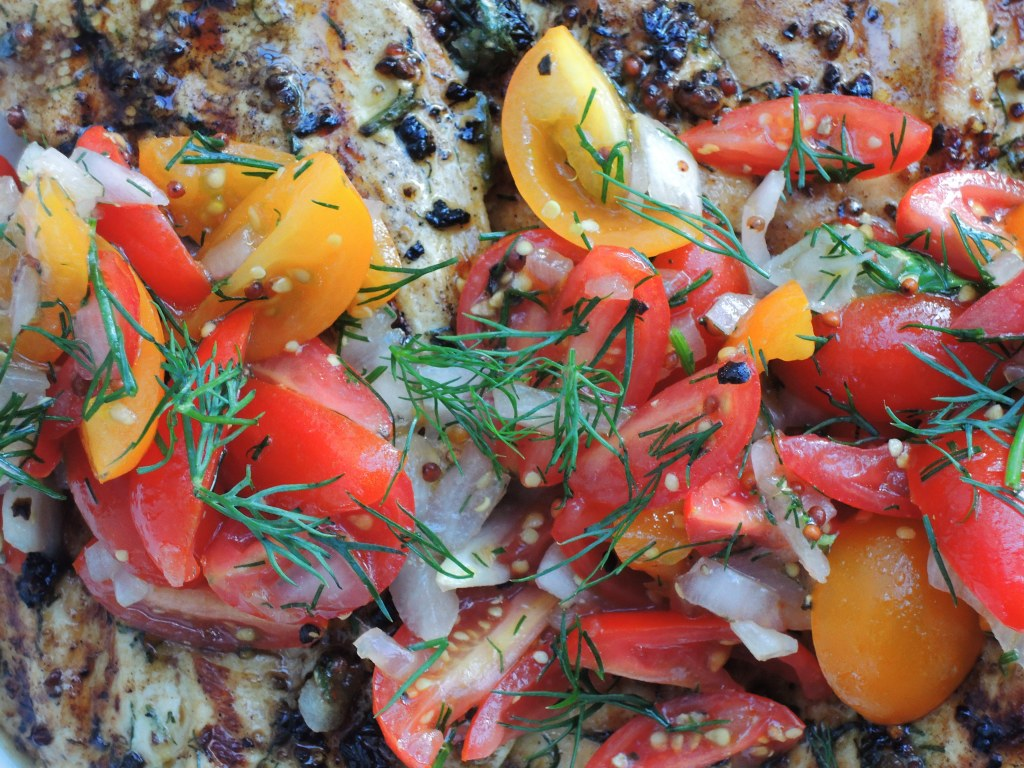 Chicken, sauteed chicken cutlets with dill tomato relish 2
