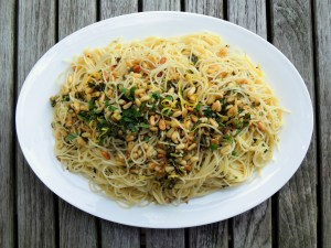 Pasta, capellini with lemon and pine nuts 1