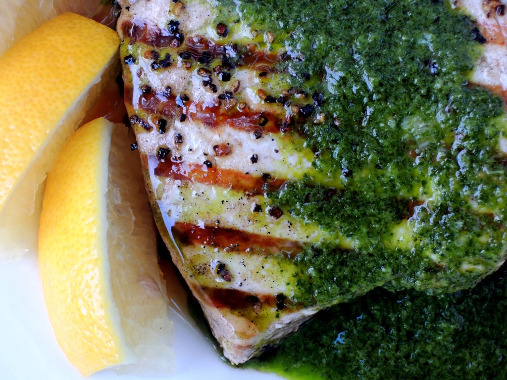 Fish, swordfish, pan-grilled swordfish steaks with Spanish parsley sauce 2