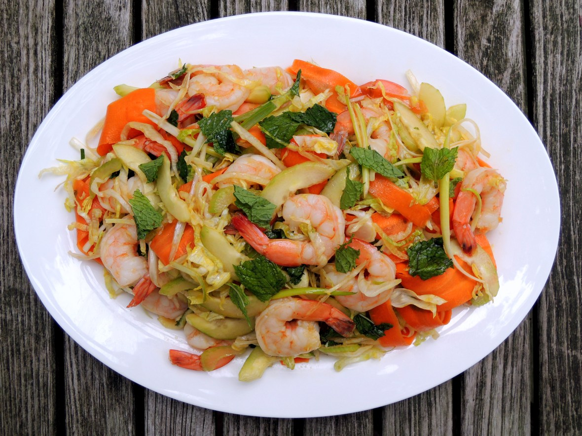 Salads, shrimp, Chinese-style shrimp salad with mint 1