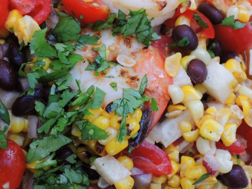 Salads, shrimp, Southwestern shrimp salad with grilled corn 2