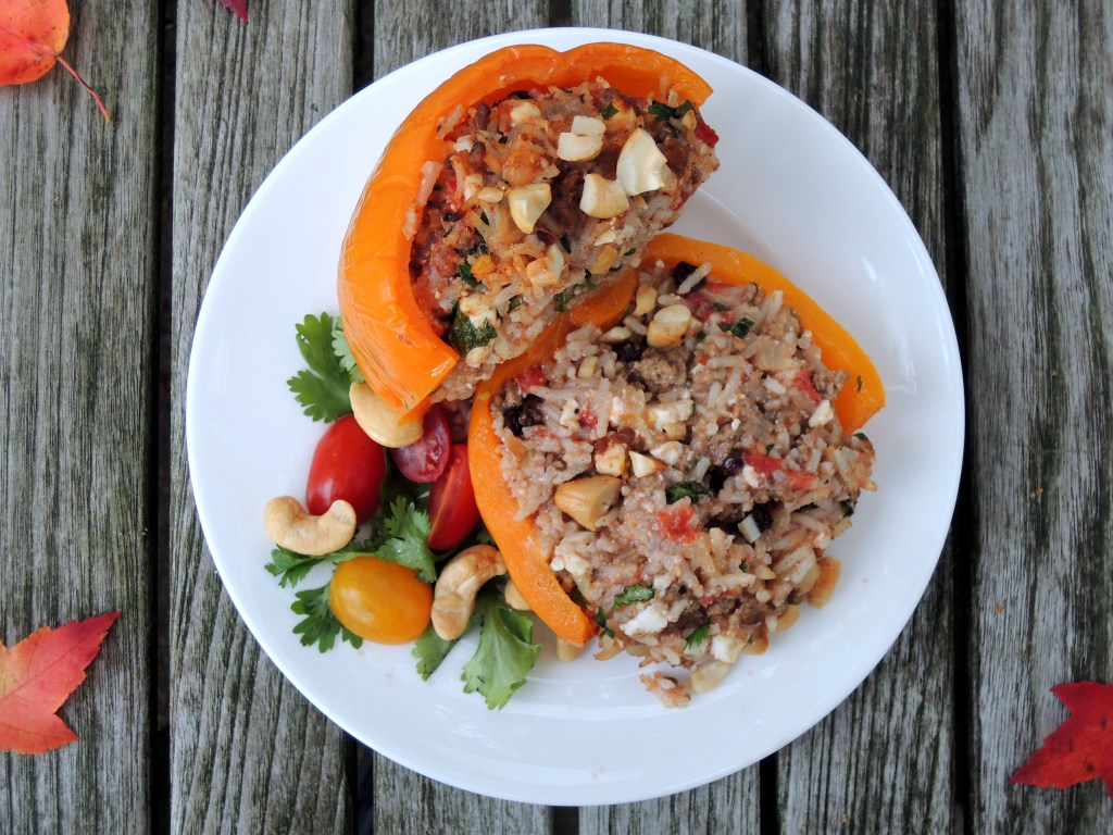 Vegetables, bell peppers stuffed with spiced lamb, currants and feta cheese 4