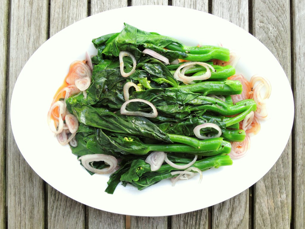Vegetables, broccoli, steamed, Chinese broccoli with sesame soy vinaigrette 1