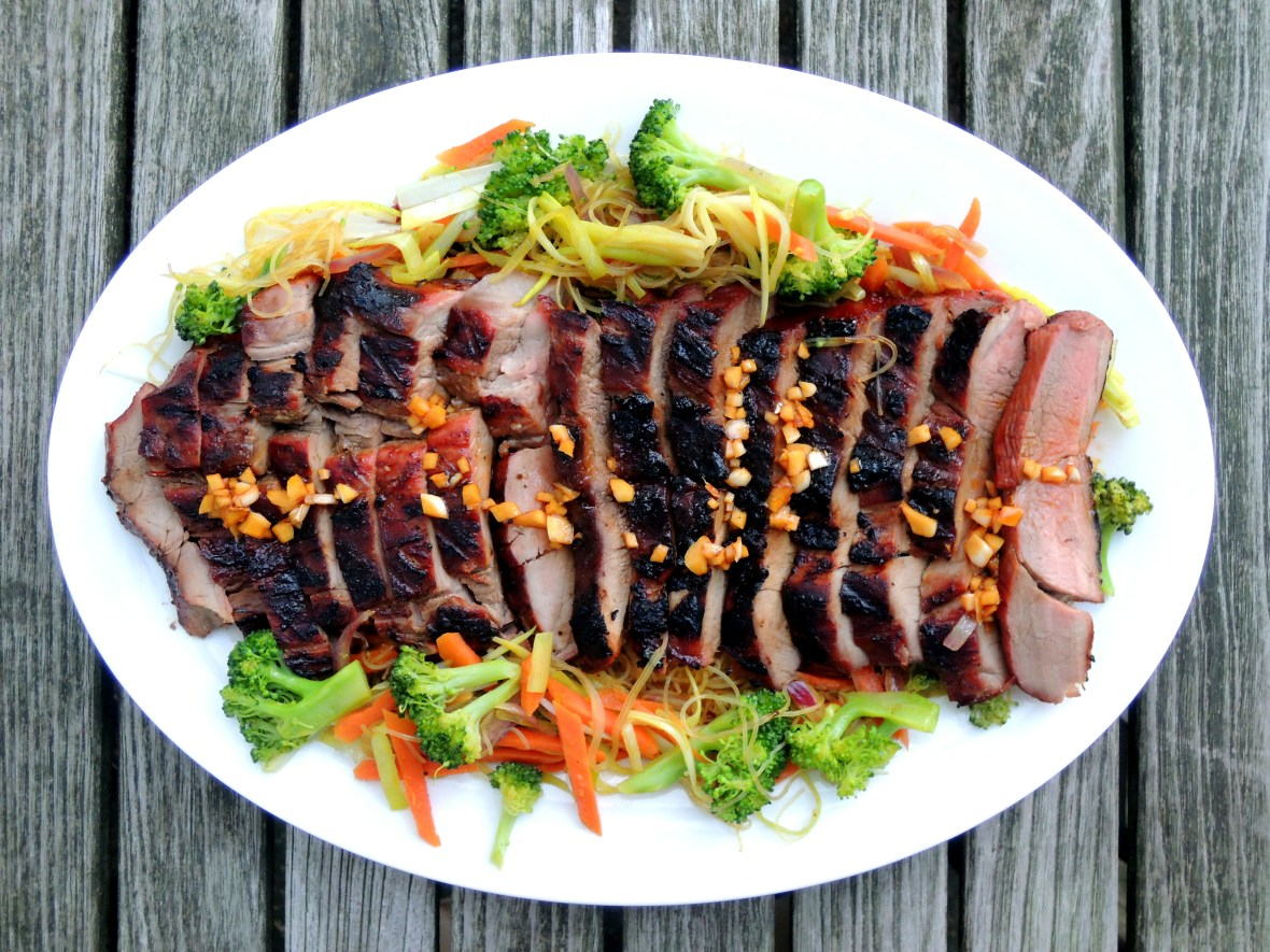 Pork, grilled butterflied pork loin with char siu (Cantonese barbecue sauce) 1