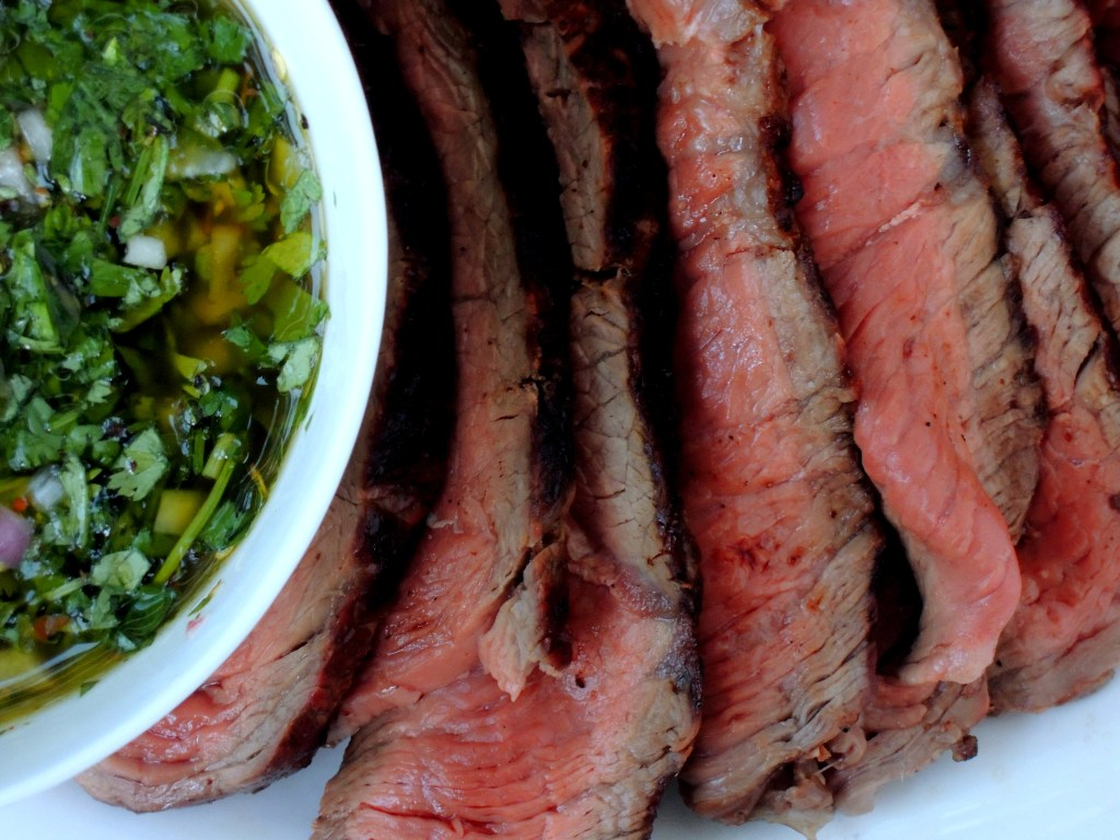 Beef, grilled steak, Argentine grilled sirloins with chimichurri sauce 2