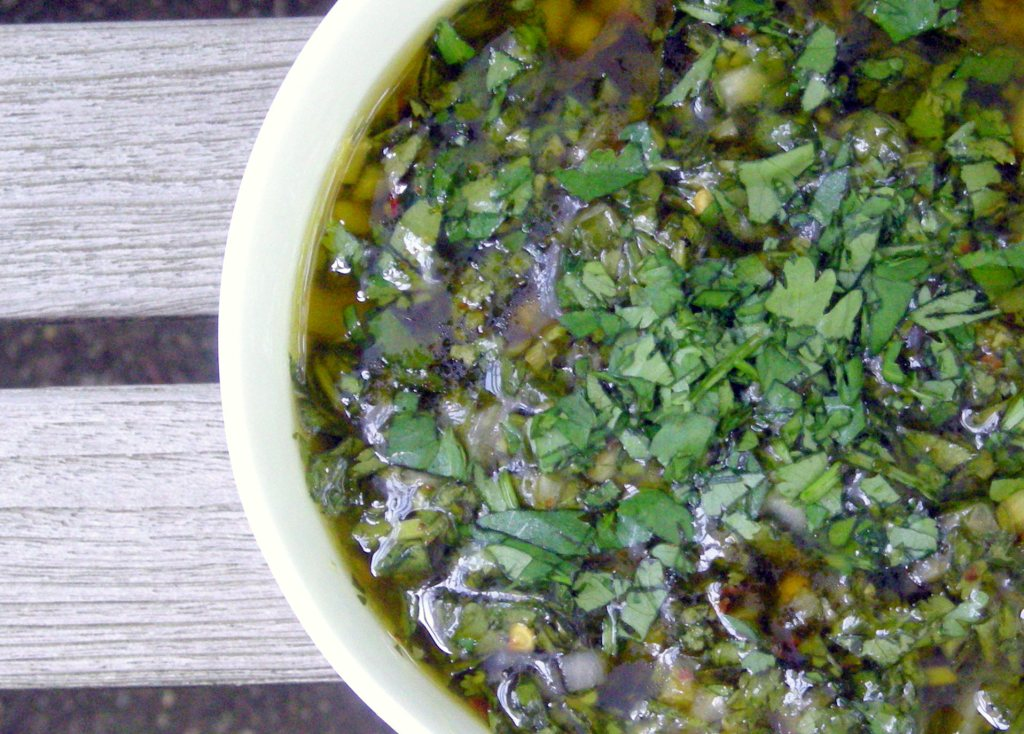 Condiments, herb sauces, chimichurri sauce (green) 2